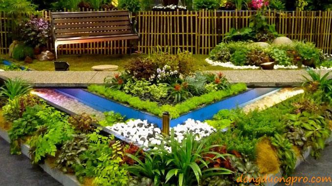 sân vườn nhỏ trước nhà - Hoa trồng nở suốt 4 mùa - thiết kế và xây dựng sân vườn đẹp